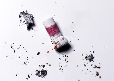 Crushed cigarette with lipstick on butt #01