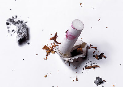 Crushed cigarette with lipstick on butt #02