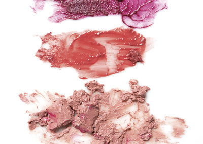 Brown lipstick smears